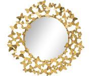 Kulaté nástěnné zrcadlo se zlatým rámem Butterfly