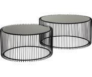 Sada kovových konferenčních stolků se skleněnými deskami Wire, 2 díly