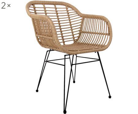 Polyratanová židle spodručkami Costa, 2ks
