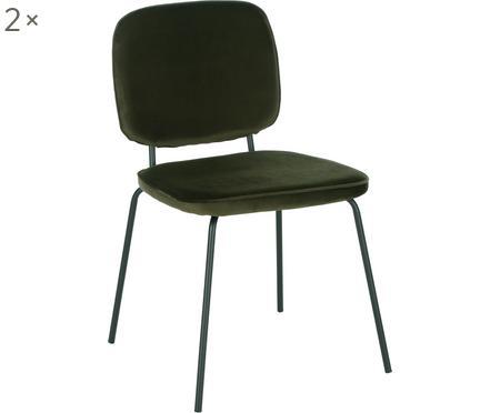 Sametová čalouněná židle Jasper, 2 ks