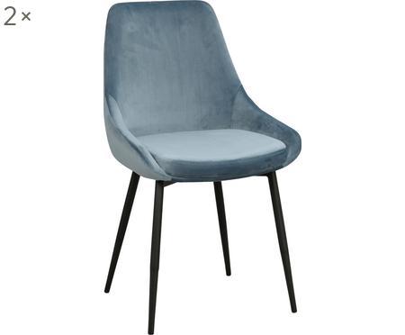 Sametová čalouněná židle Sierra, 2 ks