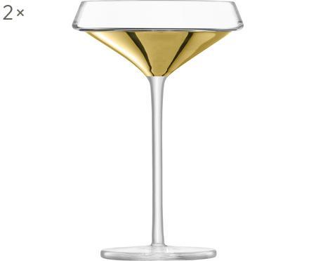 Ručně foukaná sklenice na šampaňské se zlatými detaily Space, 2 ks