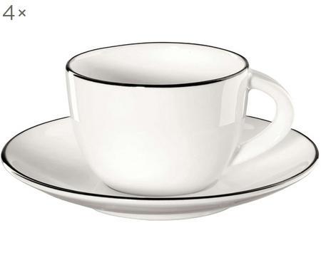 Šálek na espresso s podšálkem á table ligne noir, 4 ks