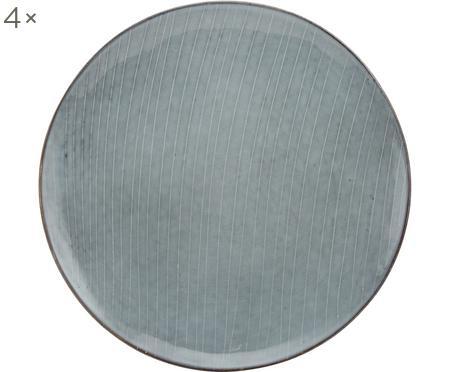 Ručně vyrobený mělký talíř Nordic Sea, 4 ks