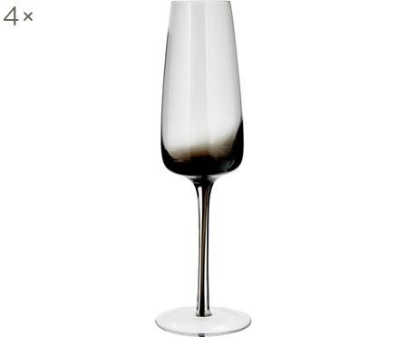 Ručně foukaná sklenice na šampaňské Smoke, 4 ks