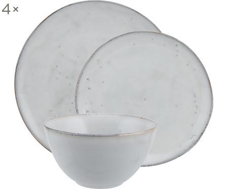 Sada ručně vyrobeného nádobí z kameniny Nordic Sand, pro 4 osoby (12 dílů)