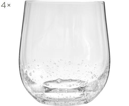 Ručně foukaná sklenice se vzduchovými bublinami Bubble, 4 ks