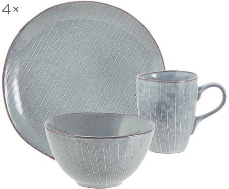 Sada ručně vyrobeného snídaňového nádobí z kameniny Nordic Sea,pro 4 osoby (12 dílů)