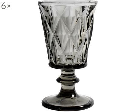 Sklenice na víno ve vintage stylu  Diamond, 6 ks