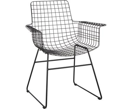 Kovová židle s područkami z kovu Wire