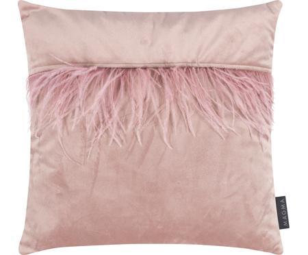 Sametový povlak na polštář ozdobený peřím Ostrich