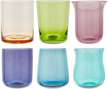Sada ručně foukaných sklenic v různých barvách a tvarech Desigual, 6 dílů