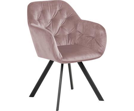 Otočná sametová židle spodručkami Lucie