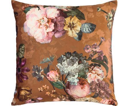 Sametový polštář skvětinovým vzorem Fleur, svýplní