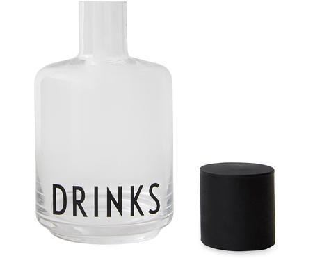 Designová skleněná karafa s nápisem Drinks, 500 ml