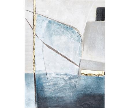 Ručně malovaný obrázek na plátně Golden Blue II